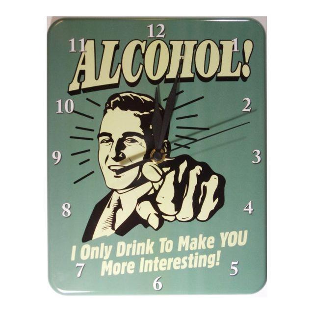 Universel Pendule metal alcohol horloge alcool deco cuisine horloge