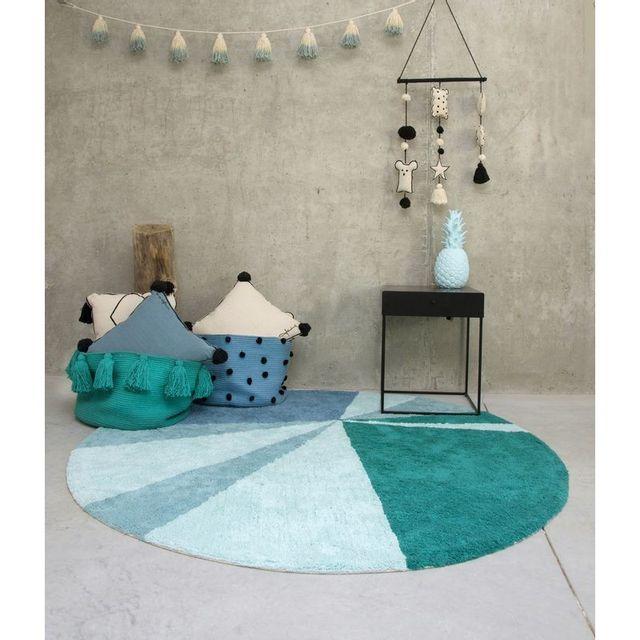 Tapis Geometric Vert Emeraude Rond En Coton Lavable Pour La Chambre Ou Salon Par Couleur Vert Taille Diametre 160 Cm