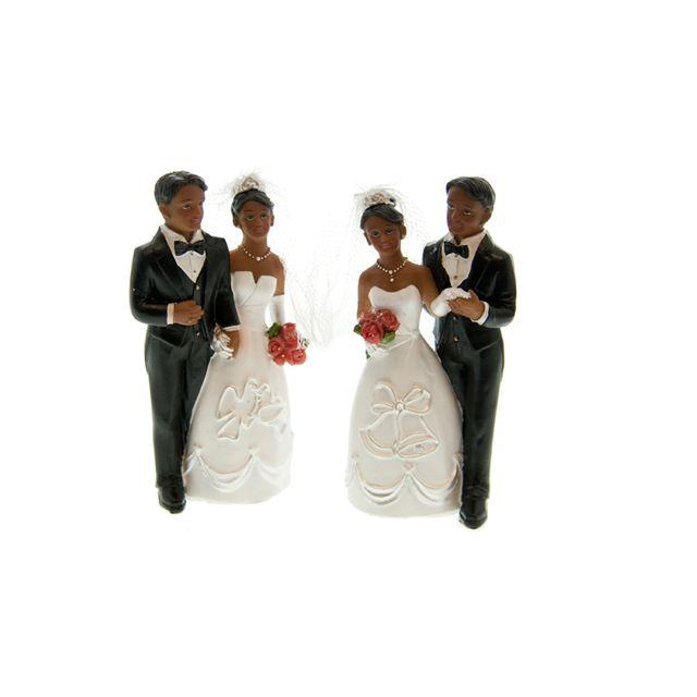 Figurine couple mariés noir 11 cm