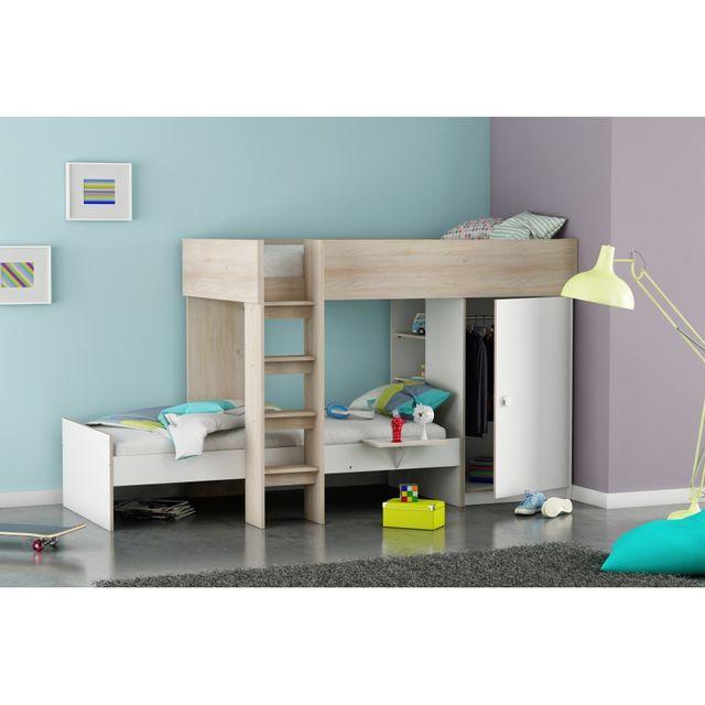 rocambolesk lit superpos treno marron blanc 90cm x 200cm pas cher achat vente lit. Black Bedroom Furniture Sets. Home Design Ideas