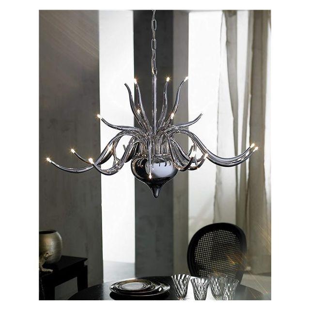 Suspension Grand lustre chandelier en métal 24 lumières Eclairage plafond