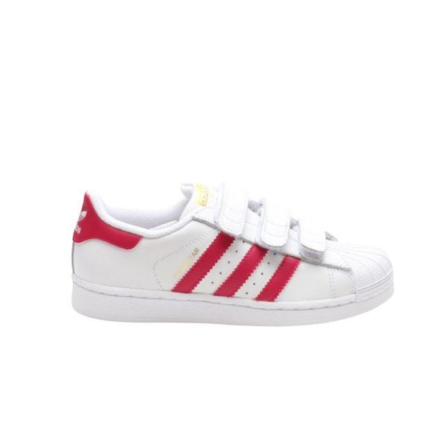 Adidas Superstar Foundation cuir Enfant 22 Blanc + Rose