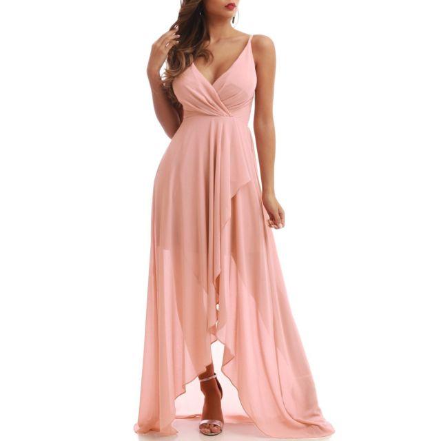 Lamodeuse Robe de soirée longue rose pas cher Achat
