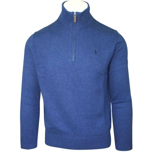 Ralph Lauren - Pull bleu col camionneur - pas cher Achat   Vente Pull homme  - RueDuCommerce 9f6a01c1827