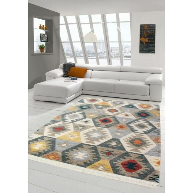 Alya Tapis Tapis de salon déco - Kilim - Design moderne -multicolore - 80 X 150 cm