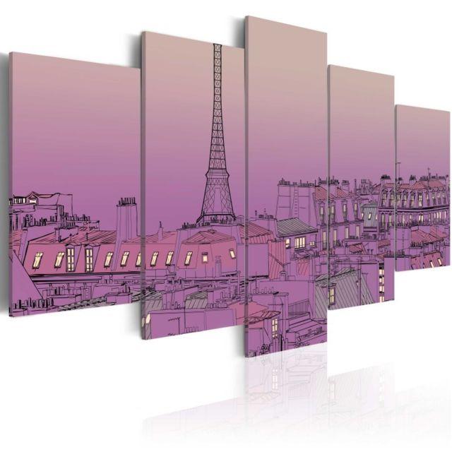 Artgeist Tableau - Lever de soleil lavandé au-dessus de Paris