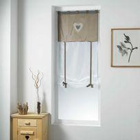 Fred Olivier - Store droit 60x150cm Shantung brodé Romantis lin