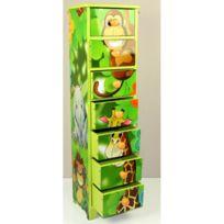 Autre - Commode chambre enfant rangement motif jungle avec 7 tiroirs 86x23x18cm Ape06024