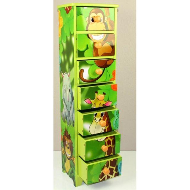 Decoshop26 Commode chambre enfant rangement motif jungle avec 7 tiroirs 86x23x18cm Ape06024