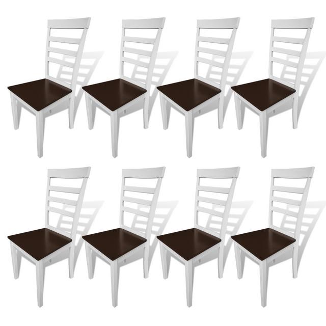 Vidaxl Lot de 8 chaises marron/blanc en bois massif