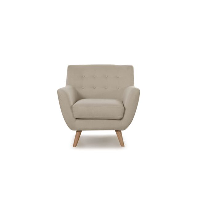 ONEBOUTIC Fauteuil scandinave 1 place taupe - Nils