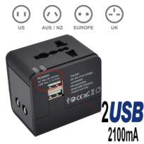 TBS - 2301 Adaptateur/Chargeur Universel de Voyage avec 2 prises USB 5V 2.1A Adaptateur chargeur de voyage tout-en-un multi-prise EU/US/UK/AU
