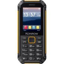 Konrow - Stone Lite - Téléphone Antichoc Certifié Ip65 - 2.4'' - Double Sim - Noir / Jaune