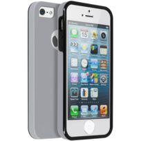 Avizar - Coque iPhone 5, 5S, Se Protection Silicone + Arrière Polycarbonate - Argent
