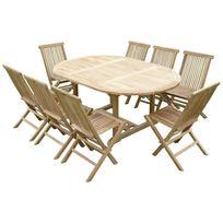 Teck'LINE - Ensemble de jardin en teck premium Sawah 8 chaises Jenae