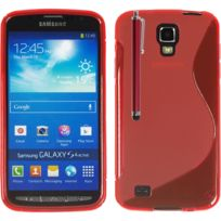 Vcomp - Housse Etui Coque souple silicone gel motif S-line pour Samsung Galaxy S4 Active I9295/ I537 Lte + stylet - Rouge