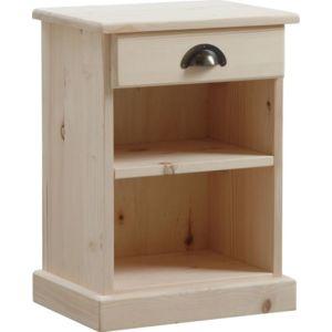 aubry gaspard table de nuit bois brut 1 tagre 1 tiroir finition brute - Table De Chevet Tiroir