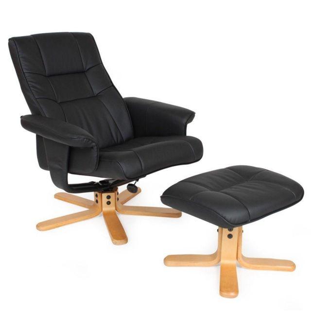 Fauteuil de relaxation détente tv avec tabouret noir pied beige 1808003