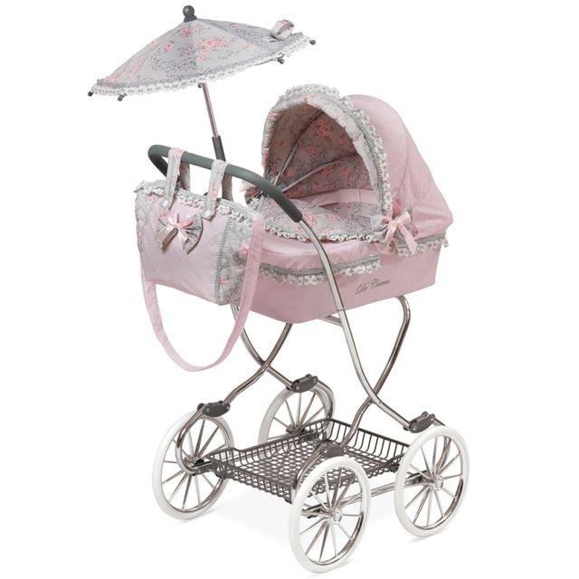 Decuevastoys grand landau poussette pour poup e grande hauteur de 90 cm avec ombrelle rose - Landau pour grande fille ...