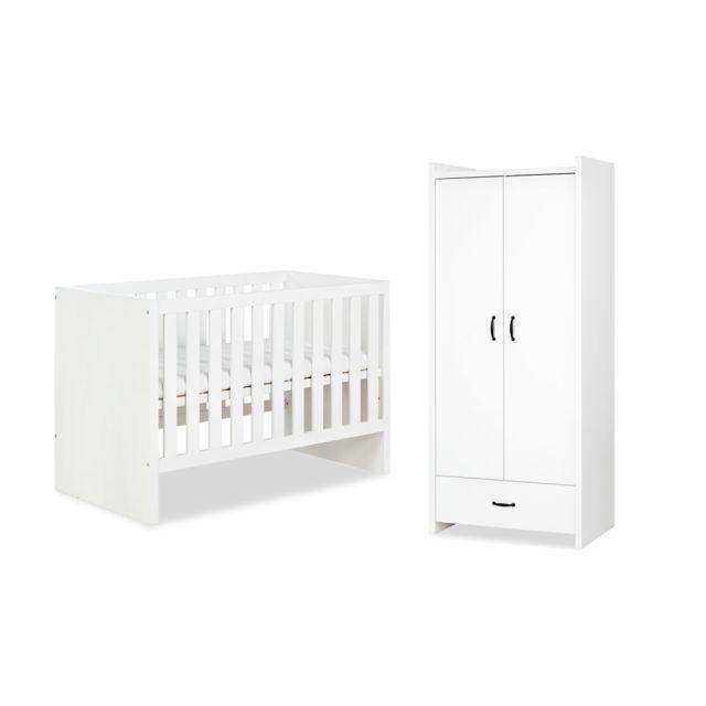 Klups Lit bébé 60x120 et Amoire 2 portes LittleSky by Amelia White - Blanc