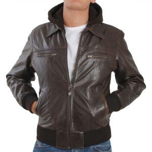 Veste en cuir marron homme pas cher