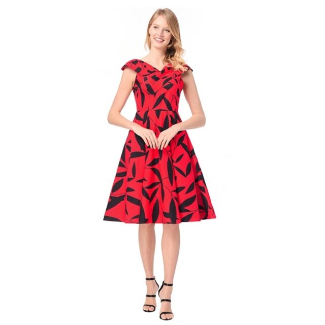 afe5bd6cc2f Wewoo - Robe Femme rouge 2018 Nouvelles femmes Western Hepburn style  impression de feuilles de col