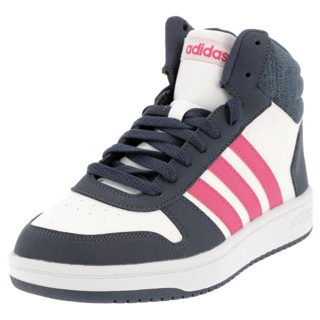 on sale 31433 53a40 Adidas - Chaussures mid mi montantes Hoops mid blc rse Blanc 35254 - pas  cher Achat  Vente Baskets enfant - RueDuCommerce