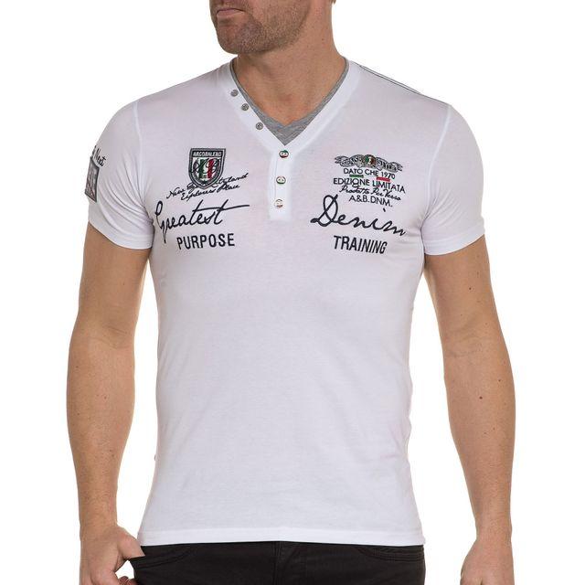 e8b7992e3fe BLZ Jeans - T-shirt blanc double col V boutons fantaisie - pas cher ...