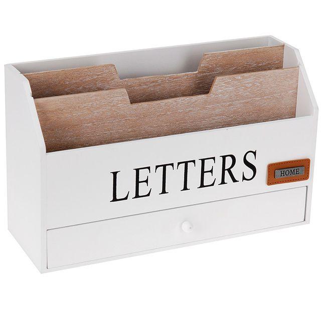 touslescadeaux organiseur range courrier bureau rangement porte lettres avec tiroir en. Black Bedroom Furniture Sets. Home Design Ideas