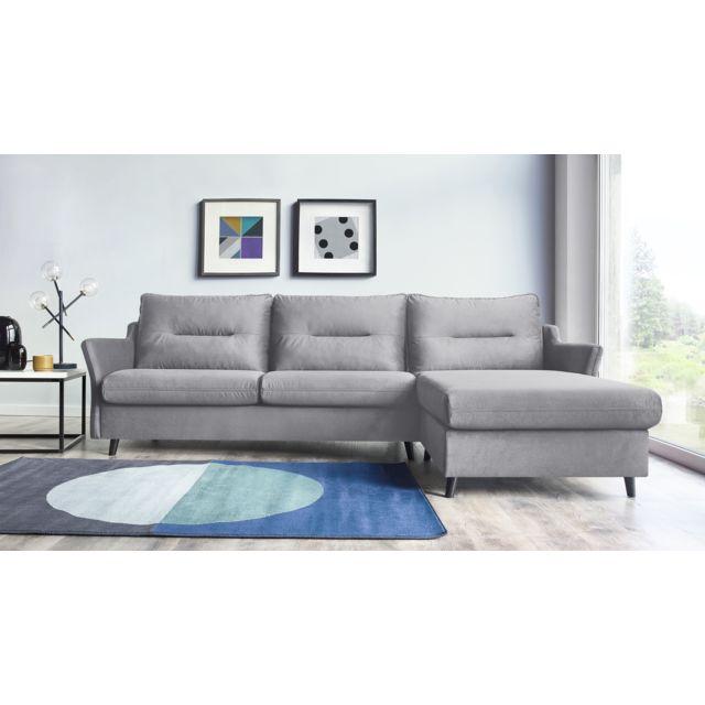 BOBOCHIC LOFT - 4 places - Canapé d'angle Droit - Convertible - Ouverture Express - Gris clair