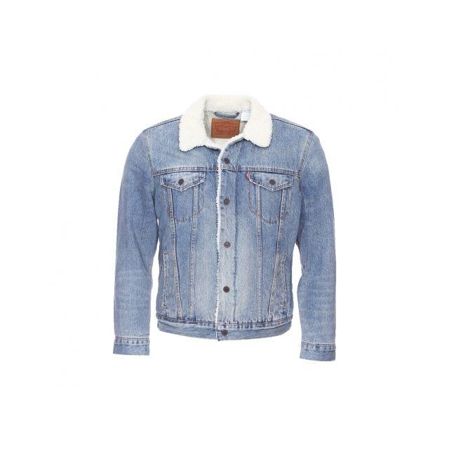 Levi s - Blouson en jean Buckman bleu clair avec doublure effet peau de  mouton - pas cher Achat   Vente Manteau homme - RueDuCommerce 50e4e13b415e