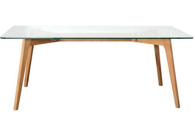 Declikdeco Cette table basse Klark en verre trempé avec son piétement en chène massif vernis incolore s'inscrit dans un style vinta