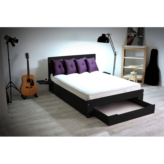 abc meubles lit happy tiroir chevets amovibles 2 places noir 140cm x 190cm pas cher. Black Bedroom Furniture Sets. Home Design Ideas