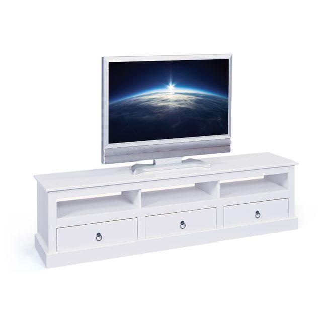 COMFORIUM - Meuble TV 173 cm avec 3 tiroires et 3 niches en pin massif  coloris 998d51c33e3b