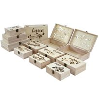 Mendler - 12x boîte en bois T281, casier de rangement, coffret à bijoux, boîte de cadeau / collection
