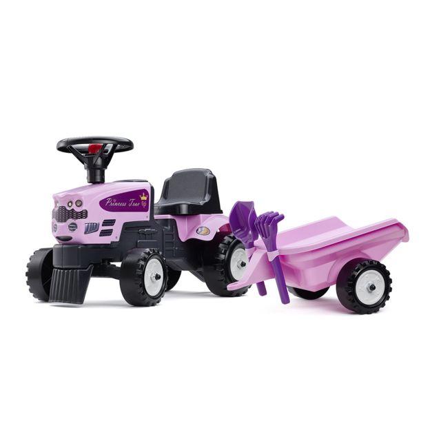 Falk tracteur enfant princess remorque accessoires pas cher achat vente voitures - Tracteur remorque enfant ...