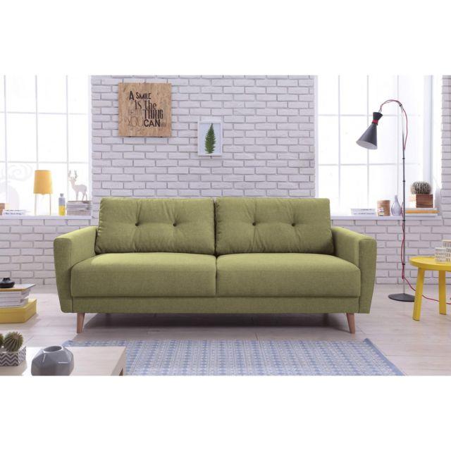 BOBOCHIC Canapé droit fixe SCANDI Vert