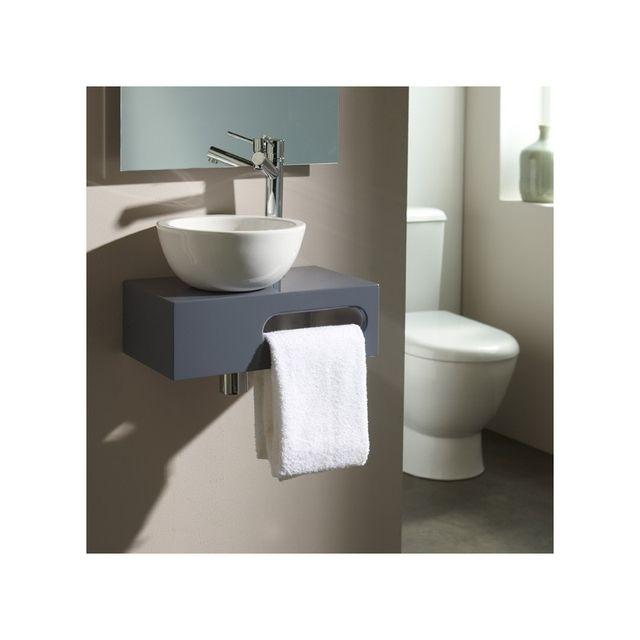 Planetebain Lave-mains complet sur console couleur gris souris pour Wc