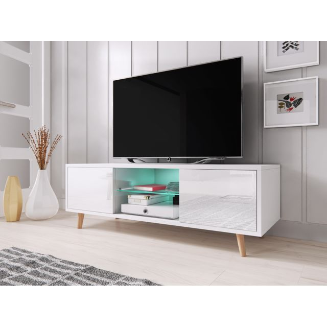 Vivaldi Sweden Meuble Tv style scandinave blanc mat avec blanc brillant. Eclairage à la Led bleue