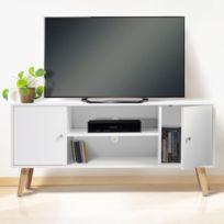 idmarket meuble tv effie scandinave bois blanc
