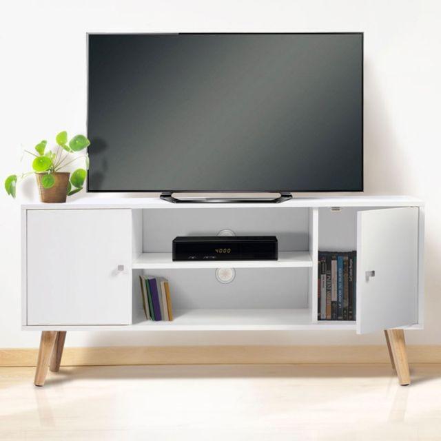 idmarket meuble tv effie scandinave bois blanc pas cher achat vente meubles tv hi fi. Black Bedroom Furniture Sets. Home Design Ideas