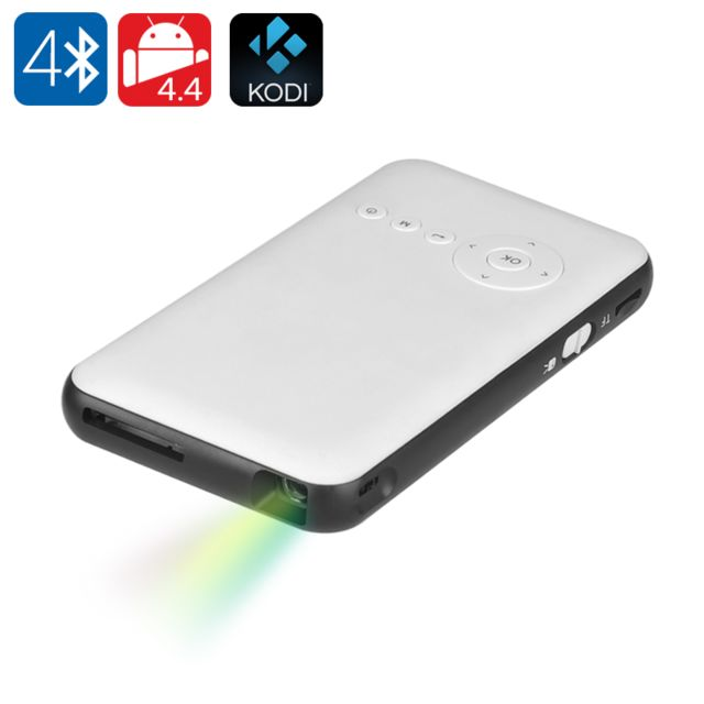 Shopinnov Mini Projecteur Dlp Android 4.4 100 lumens 2000:1 WiFi Bluetooth Blanc