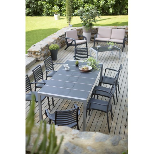 Grosfillex - Salon de jardin 8 couverts sunday anthracite ...
