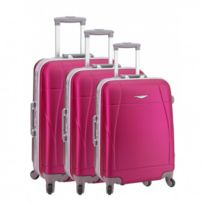 Madison - Madisson Bagage Lot de 3 valises trolley - 4 Roues - Rigide - Fermeture Clips - Fuchsia