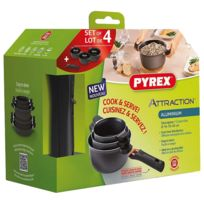 Pyrex - Set 3 Casseroles 16+18+20cm Alu induct.ATTRACTION