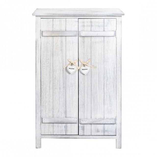 Mobili rebecca meuble d 39 appoint bahut 2 ports bois blanc shabby cuisine entr e bain sejour - Meuble d appoint cuisine ...