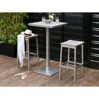 Kaligrafik - Mange debout 2 places : 1 table + 2 tabourets en aluminium et composite grisé Camano