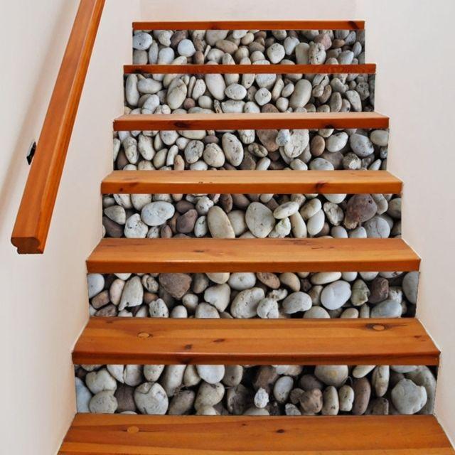 Sticker 6 Pcs Diy Creative Cobblestone Escaliers Autocollant Décoration de  La Maison, Taille: 18 100 cm