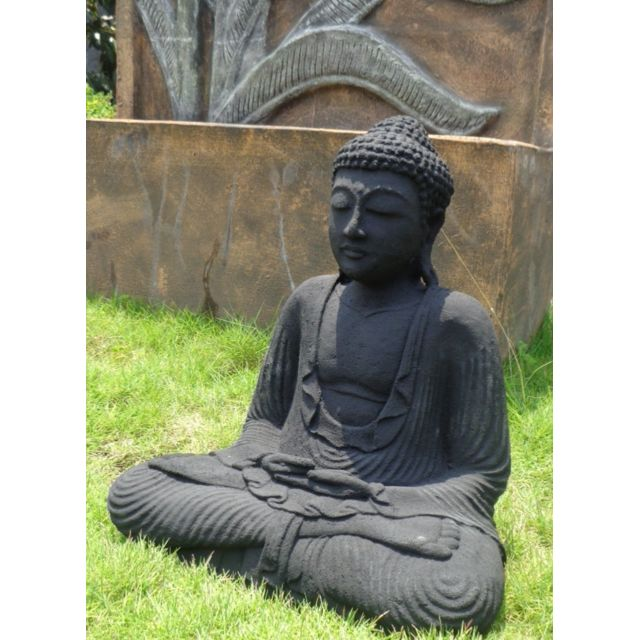 statue bouddha assis position offrande noir 42 cm pas. Black Bedroom Furniture Sets. Home Design Ideas