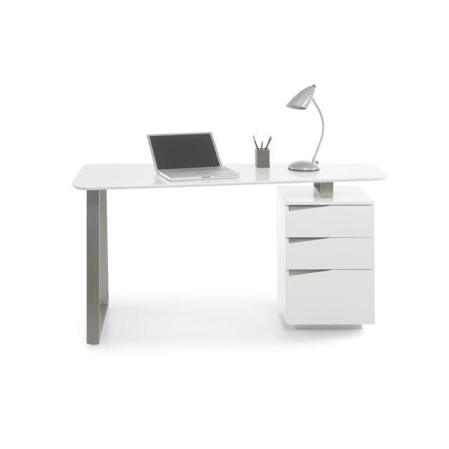 Pegane Bureau avec 3 tiroirs coloris laqué blanc mat - L150 x H76 x P67 cm